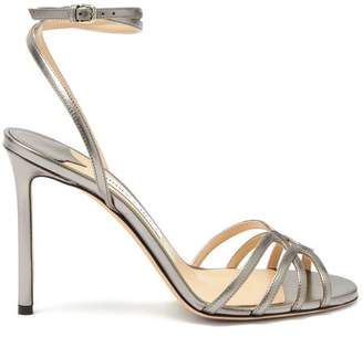 Jimmy Choo Mimi 100 Metallic Leather Sandals - Womens - Dark Grey