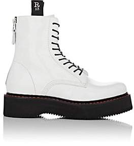 R 13 Women's Single Stack Patent Leather Lace-Up Boots-White