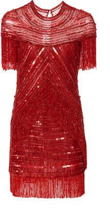 Naeem Khan Embellished Fringe Mini Dress