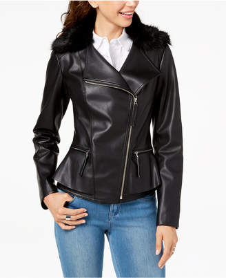INC International Concepts I.n.c. Faux-Fur-Trim Peplum Moto Jacket