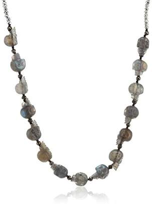 Jade Jagger Ibiza Hand Carved Labradorite Skulls with Labradorite Pyrite and Silver Plated Hand Beaten Beads 17 Inch Multi Skull Necklace of 41cm