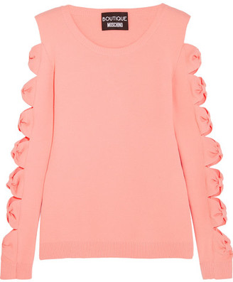 Boutique Moschino - Cutout Bow-detailed Stretch-knit Sweater - Pink $675 thestylecure.com