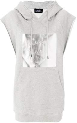 Karl Lagerfeld metallic logo sleeveless hoodie