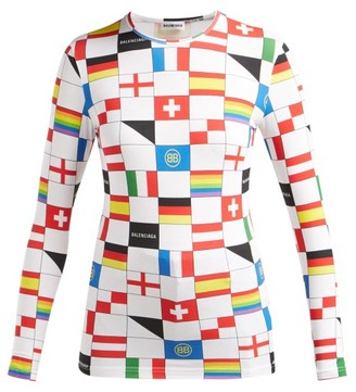 Balenciaga Lgbtq Flag Print Stretch Jersey Top - Womens - Multi
