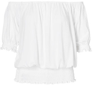 Ralph Lauren Lauren Smocked Off-The-Shoulder Top $79.50 thestylecure.com