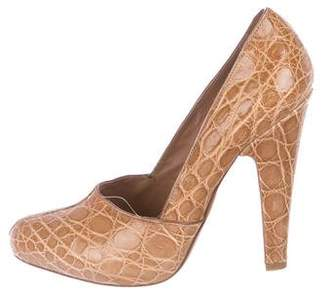 Alaia Leather Almond-Toe Pumps