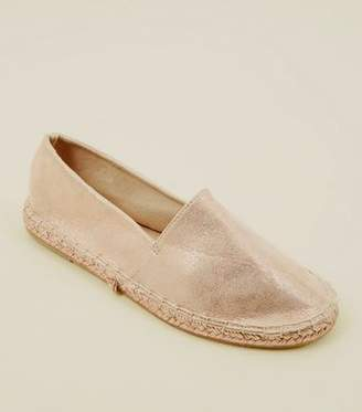 New Look Rose Gold Metallic Round Toe Espadrilles
