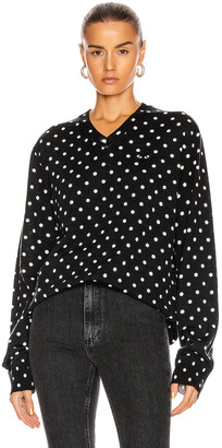 Comme des Garcons (コム デ ギャルソン) - Comme Des Garcons Play Wool Jersey Dot Print Black Emblem Sweater