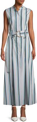 Diane von Furstenberg Striped Sleeveless Belted Maxi Dress