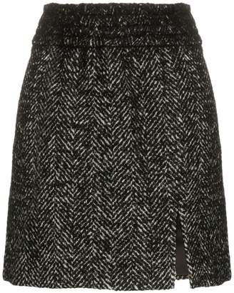 Miu Miu front slit alpaca wool mini skirt