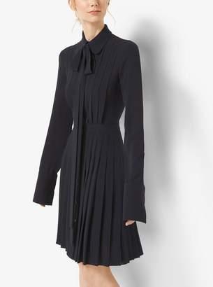 Michael Kors Pleated Silk-Georgette Shirtdress