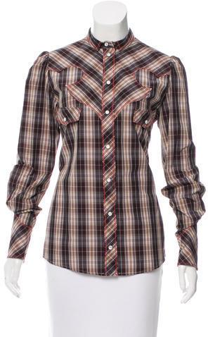 Dolce & GabbanaDolce & Gabbana Long Sleeve Plaid Top w/ Tags