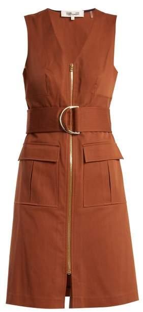 V-neck patch-pocket cotton-blend dress