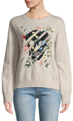 360 Sweater 360Sweater Aji Floral-Embroidered Skull Crewneck Cashmere Pullover Sweater