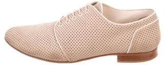 Fendi Leather Perforated Oxfords Khaki Leather Perforated Oxfords