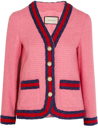 Gucci Faux Pearl-embellished Cotton-blend Tweed Jacket - Pink