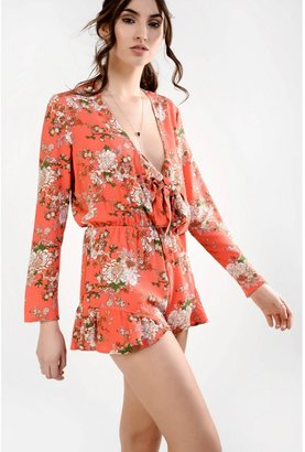 Glamorous Coral Oriental Floral Tie Front Playsuit With Ruffle Trims