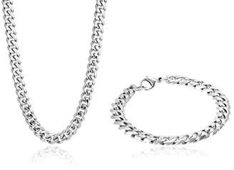 Men's Cuban Link Curb Chain Bracelet/Necklace Set