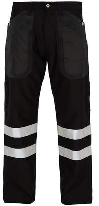 Junya Watanabe Cotton and wool-blend reflective-trimmed trousers