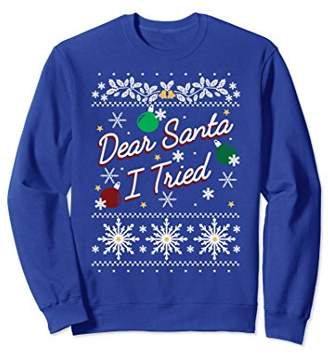 Ugly Sweater Dear Santa I Tried Ornaments Graphic Sweatshirt