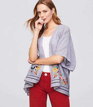 LOFT Floral Embroidered Striped Kimono