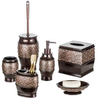 Creative Scents Dublin 6-Piece Bathroom Accessories Set, Includes Decorative Countertop Soap Dispenser, Soap Dish, Tumbler, Toothbrush Holder, Tissue Box Cover and Toilet Bowl Brush (Brown)