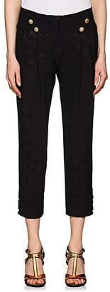 Mayle Maison Women's Button-Detailed Floral Silk Jacquard Pants - Black