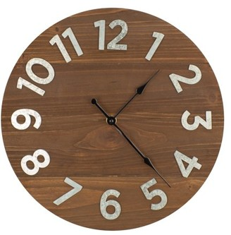 "Patton Wall Decor 12"" Frameless Rustic Walnut Wood Plank Wall Clock with Galvanized Metal Numbers"