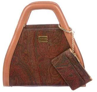 Etro Paisley Print Leather Trimmed Handle Bag Brown Paisley Print Leather Trimmed Handle Bag