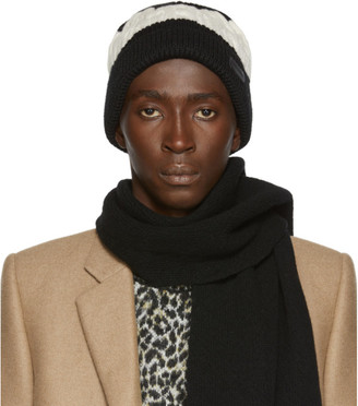 Saint Laurent Black and Off-White Big Twisted Knit Beanie