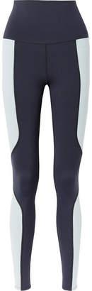Live The Process - Geometric Paneled Stretch-supplex Leggings - Navy