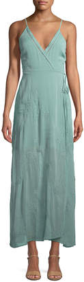 Astr Sleeveless Embroidered Maxi Wrap Dress