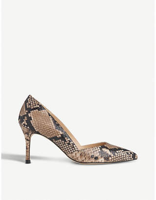 LK Bennett Elena reptile-print leather courts
