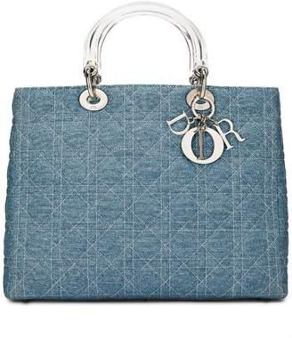Christian Dior Blue Cannage Denim Lady Large