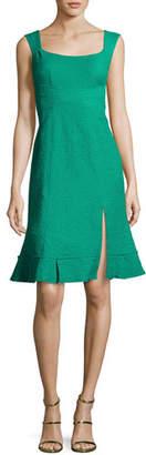 Nanette Lepore Blossom Sleeveless Jacquard Flounce Dress, Green $348 thestylecure.com