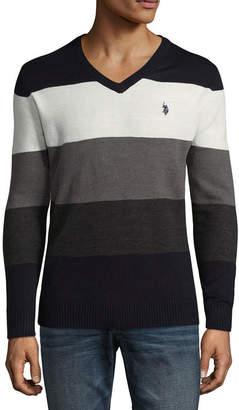 USPA U.S. Polo Assn. V Neck Long Sleeve Jersey Pullover Sweater