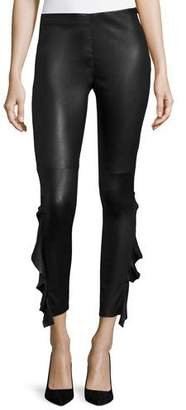 IRO Cardash Lamb Leather Skinny Pants w/ Side Ruffle