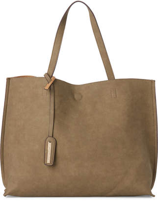 Street Level Olive & Tan Reversible Faux Leather Tote