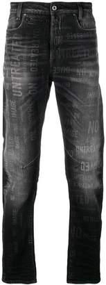 G Star Research stonewashed slogan print jeans