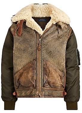 Polo Ralph Lauren Men's Shearling& Faux Fur-Trim Flight Jacket