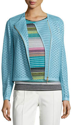 Escada Perforated Leather Moto Jacket