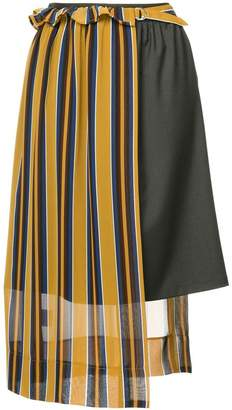 GUILD PRIME striped asymmetric midi skirt