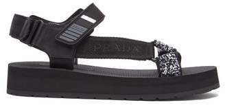 Prada Logo Plaque Strap Leather And Grosgrain Sandals - Womens - Black