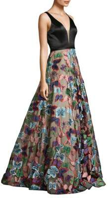 V-Neck Butterfly Skirt Gown