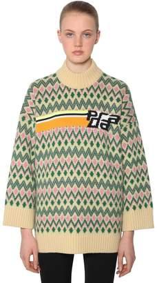Prada Logo Intarsia Shetland Wool Sweater
