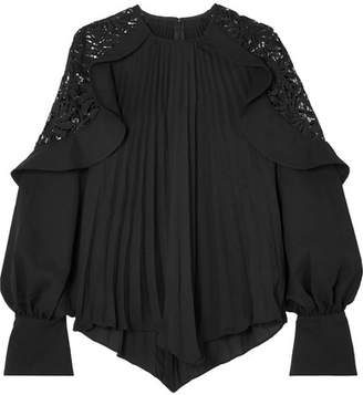 Self-Portrait Pleated Crepe De Chine And Lace Blouse - Black