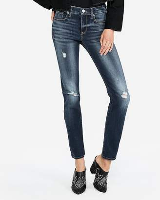 Express Mid Rise Denim Perfect Ripped Skinny Jeans
