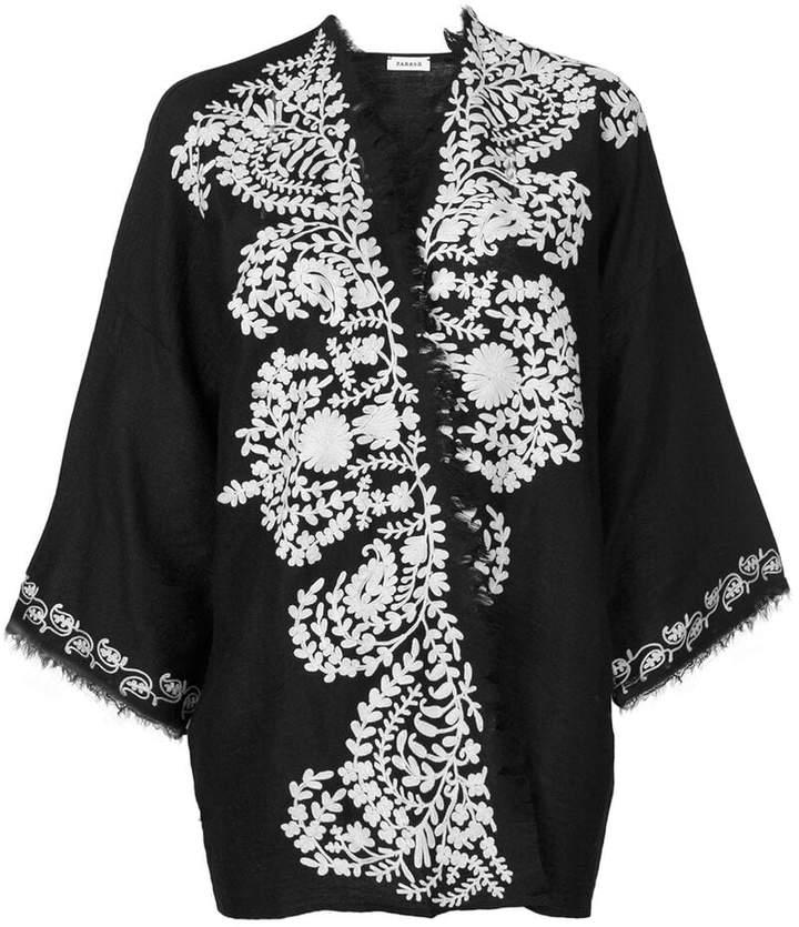 contrast embroidered kimono jacket