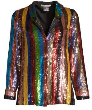 Alice + Olivia Keir Sequin Blouse