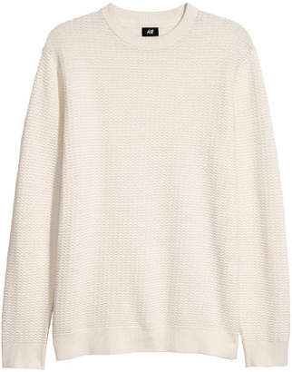 H&M Textured-knit Sweater - White